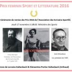 MINISTERE DES SPORTS PRIX « SPORT ET LITTERATURE AU FEMININ »